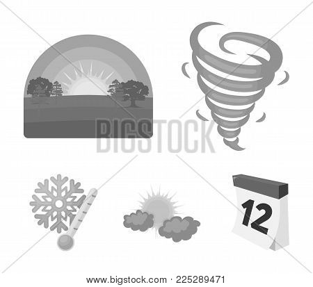 Tornado, sunrise, cloudiness, snow and frost. The weather set collection icons in monochrome style vector symbol stock illustration .
