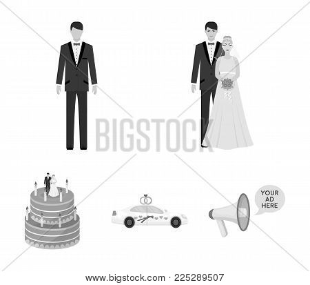 A bride and groom in a wedding dress with a bouquet of roses in their hands, a groom in a festive suit, a cadillant of newlyweds decorated with ribbons and hearts, a wedding cake with the bride and groom. Wedding set collection icons in monochrome style v