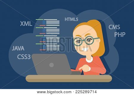 Woman programmer working with code on computer.