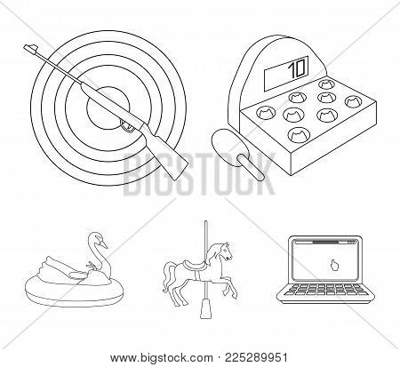 A game with a bat, a target with a gun, a horse on a carousel, a swan attraction. Amusement park set collection icons in outline style vector symbol stock illustration .
