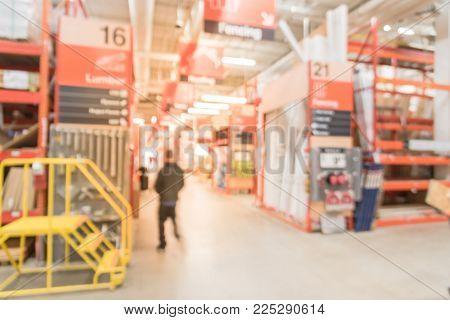 Blurred Interior Of Home Improvement Retailer Store In America