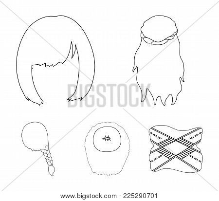 Kara, red braid and other types of hairstyles. Back hairstyle set collection icons in outline style vector symbol stock illustration .