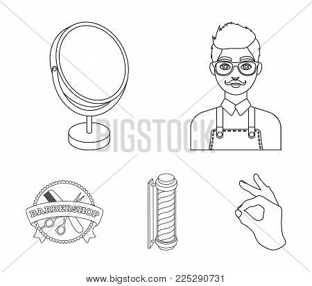 Male hairdresser, sign, mirror and other equipment for a hairdresser.Barbershop set collection icons in outline style vector symbol stock illustration .