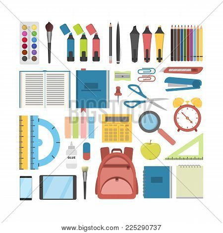 School stationary set. Pens and rulers, books and backpack.