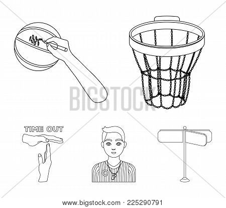 Basketball basket, autograph on the ball, referee on the game, gesture time out. Basketball set collection icons in outline style vector symbol stock illustration .