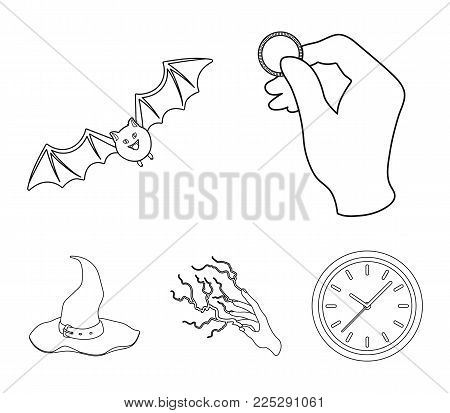 Focus with a coin, a bat, a mage's hat, a lightning-fast spell.Black and white magic set collection icons in outline style vector symbol stock illustration .
