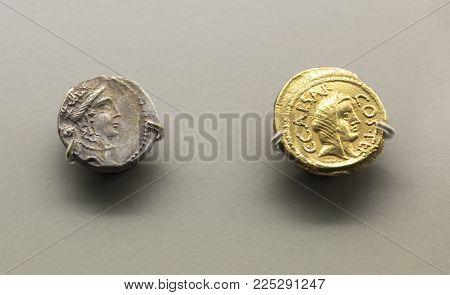 Merida, Spain - December 20th, 2017: Roman General and dictator Julius Caesar coins at National Museum of Roman Art in Merida, Spain