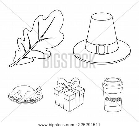 Hat of a pilgrim, oak leaf, gift in a box, fried turkey.Canada thanksgiving day set collection icons in outline style vector symbol stock illustration .
