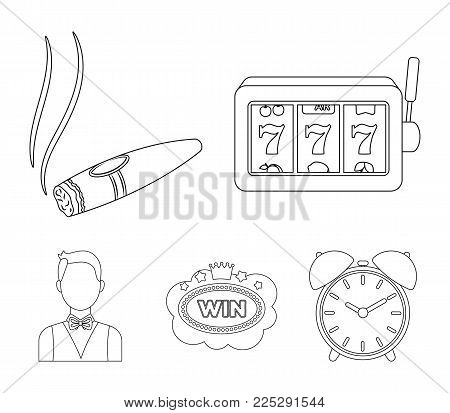 A gaming machine a one-armed bandit, a cigar with smoke, a five-star hotel sign, a dilettante in a vest. Casinos and gambling set collection icons in outline style vector symbol stock illustration web.