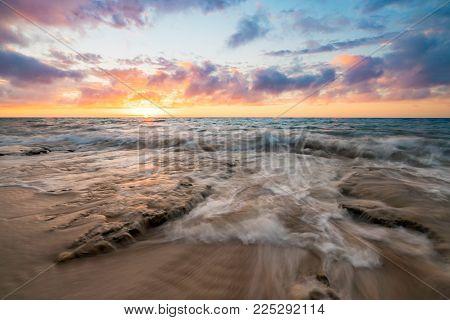 Sunset over the beach at Halls Heads near Mandurah, Western Australia, Australia.