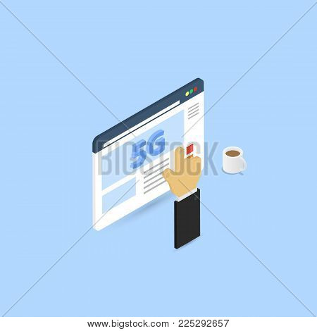 The businessman clicks on the browser page 5G Internet connection. Vector illustration .