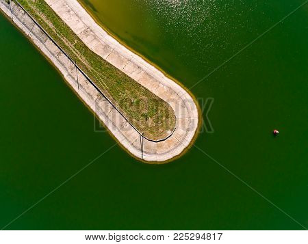 Aerial View Breakwater At Sea, Pier, Groyne, Dock, View From Above Cutwater