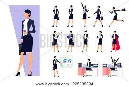 Set of business characters isolated on white background. Businesswomen in the workplace. Manager is busy different things, goes, stands, works on the pc, speaks on the phone. Vector illustration.