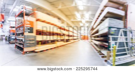 Blurred Lumber Osb, Plywood, Mdf, Project Panel Shelves At Home Improvement Store