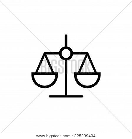 Law Scale Icon In Trendy Flat Style Isolated On Background.