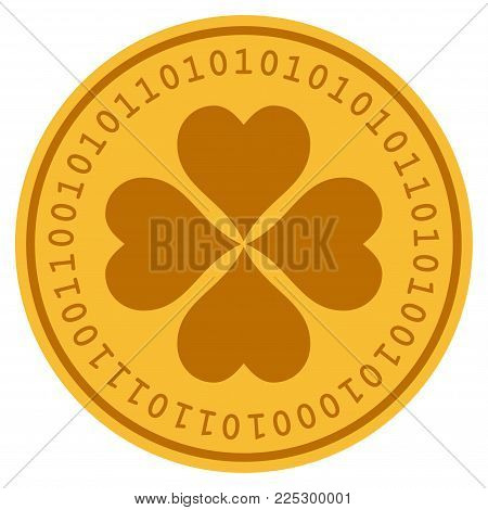 Lucky Cloever golden digital coin icon. Vector style is a gold yellow flat coin cryptocurrency symbol.