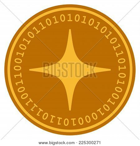 Space Star golden digital coin icon. Vector style is a gold yellow flat coin cryptocurrency symbol.
