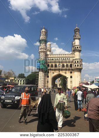 HYDERABAD, INDIA - NOV 17: Charminar in Hyderabad (Andhra Pradesh) in India, as seen on Nov 17, 2017.