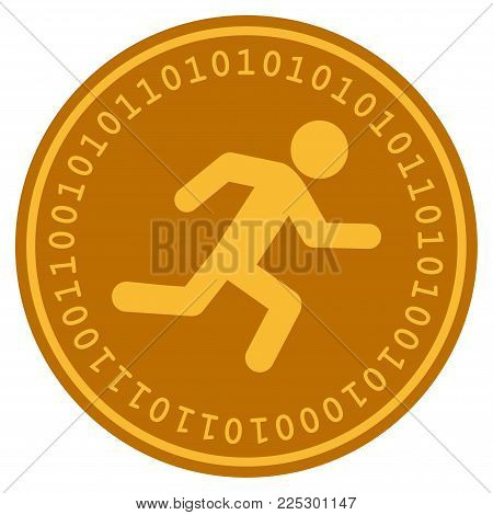 Running Man golden digital coin icon. Vector style is a gold yellow flat coin cryptocurrency symbol.