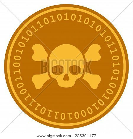 Skull Crossbones golden digital coin icon. Vector style is a gold yellow flat coin cryptocurrency symbol.