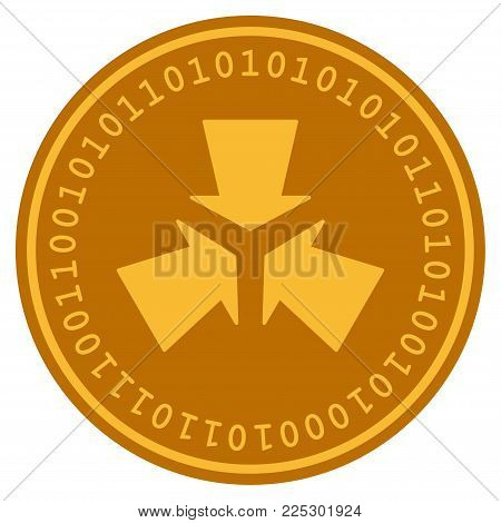Pressure Arrows golden digital coin icon. Vector style is a gold yellow flat coin cryptocurrency symbol.