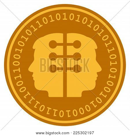 Dual Head Interface golden digital coin icon. Vector style is a gold yellow flat coin cryptocurrency symbol.