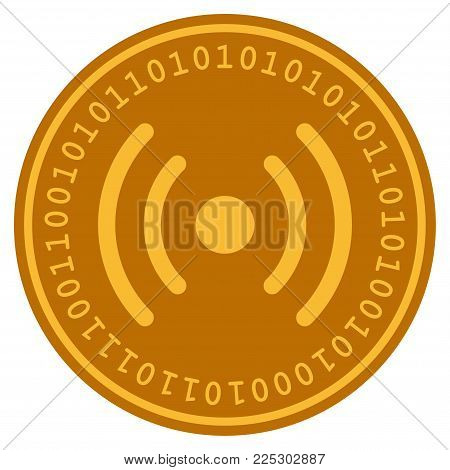 Wi-Fi Source golden digital coin icon. Vector style is a gold yellow flat coin cryptocurrency symbol.