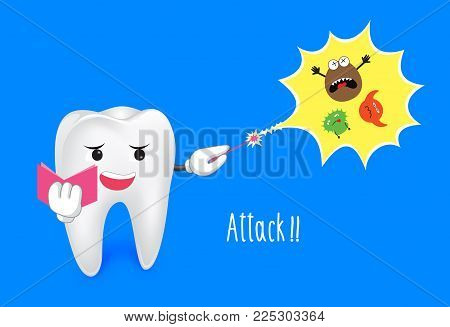 Tooth Attack The Bacteria With Magic From Magic Wand. This Illustration For Teeth Healthy Care.
