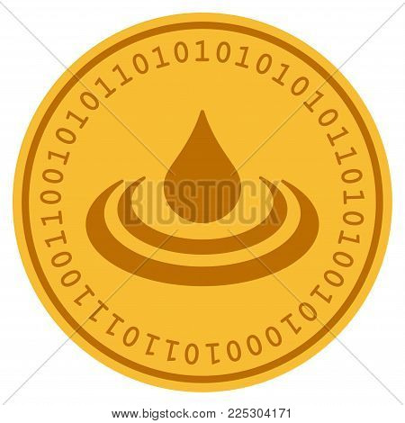 Drop Ripple golden digital coin icon. Vector style is a gold yellow flat coin cryptocurrency symbol.