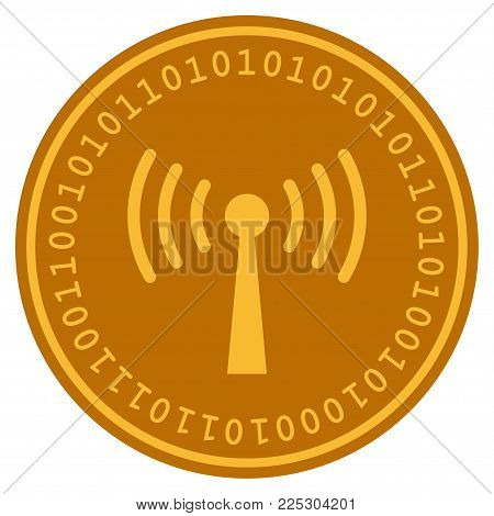Wi-Fi Station golden digital coin icon. Vector style is a gold yellow flat coin cryptocurrency symbol.