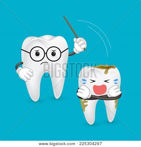 Cartoon Teacher  Teeth Implant, Great For Dental Care Concept. Punish Dirty Tooth.
