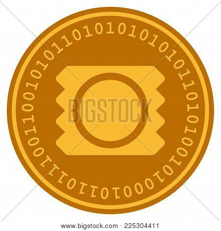 Condom Package golden digital coin icon. Vector style is a gold yellow flat coin cryptocurrency symbol.