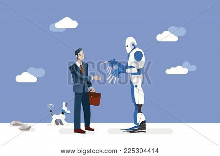 vector illustration about artificial intelligence and his risks.  A businessman offers his hand to a big and dangerous android robot.