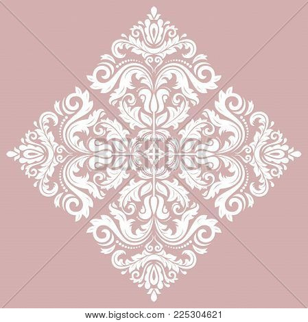 Oriental vector square white pattern with arabesques and floral elements. Traditional classic ornament. Vintage pattern with arabesques
