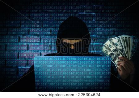 Computer hacker trying to accessing information privacy of the companies and showing money income from robberies.