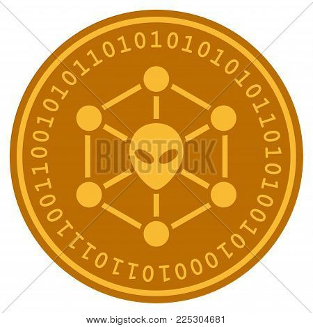 Alien Network golden digital coin icon. Vector style is a gold yellow flat coin cryptocurrency symbol.