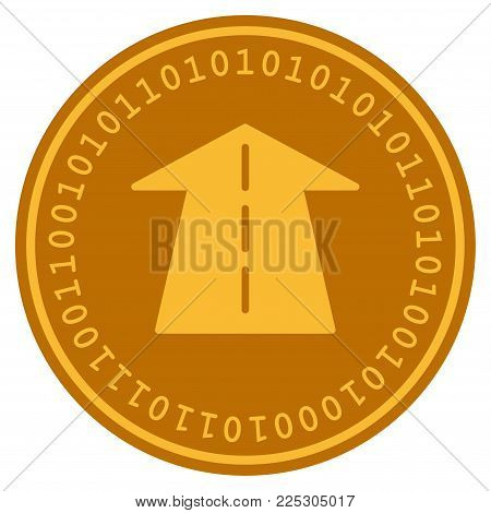 Future Road golden digital coin icon. Vector style is a gold yellow flat coin cryptocurrency symbol.