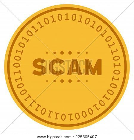 Scam Caption golden digital coin icon. Vector style is a gold yellow flat coin cryptocurrency symbol.
