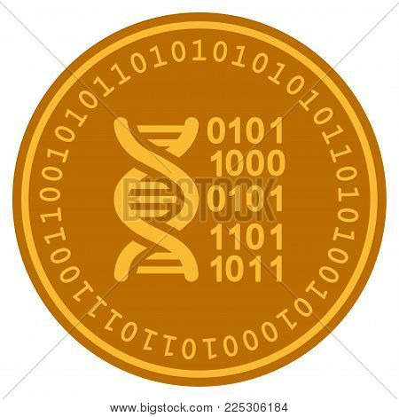 Genome golden digital coin icon. Vector style is a gold yellow flat coin cryptocurrency symbol.