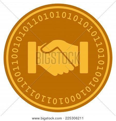 Acquisition Handshake golden digital coin icon. Vector style is a gold yellow flat coin cryptocurrency symbol.