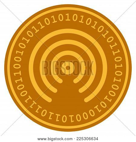 Airdrop Center golden digital coin icon. Vector style is a gold yellow flat coin cryptocurrency symbol.