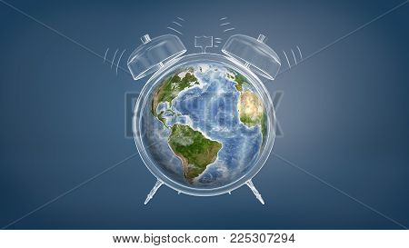 3d rendering of colorful Earth globe used a clock face of a chalk drawn ringing alarm clock. Environmental issues. Urgent danger to Earth. Environmental wake-up call.