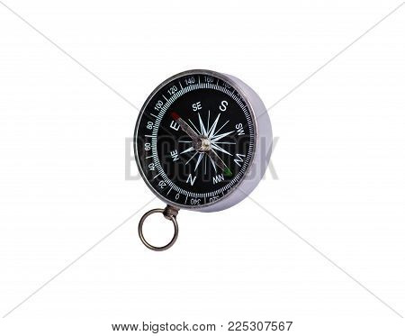 Old Compass Isolated On White Background. There Is A Way