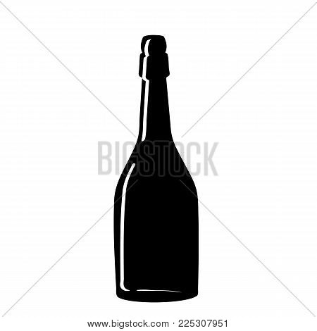 Black silhouette of a champagne bottle. Iconography. Vector illustration. poster