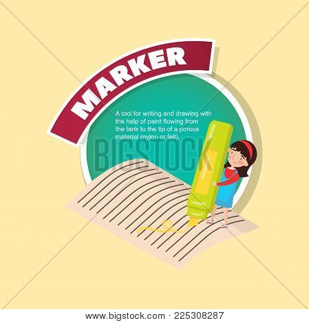 Marker tool description, little girl with giant highlighter creative poster with text vector illustration, web design