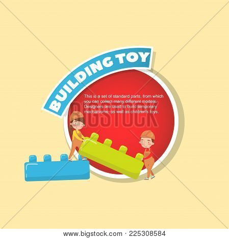 Building toy description, boy and girl playing with buiding toy blocks creative poster with text vector illustration, web design