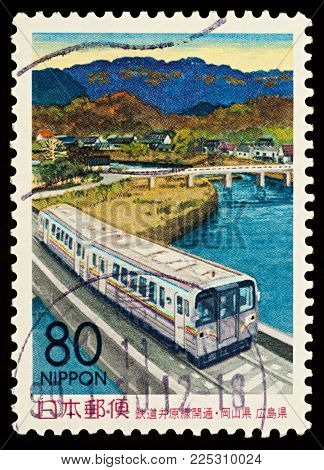 Moscow, Russia - February 06, 2018: A stamp printed in Japan shows Railway Ibara route opening, series