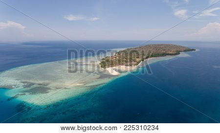 Aerial view tropical island Menjanga with white sand beach. Coral reef, atoll on Menjangan, colorful reef and perfect snorkeling and scuba diving. Seascape, ocean and beautiful beach paradise. Travel concept.