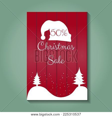 Christmas sale. 50 procent of discount. Red banner