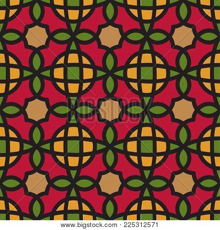 Vector Abstract Seamless Pattern. Vintage Color Geometric East Ornament Pattern. Islamic, Arabic, Indian, Bohemian, Gypsy, Persian, Ottoman Motifs, Kaleidoscope. Ethnic decorative element. Boho Style.